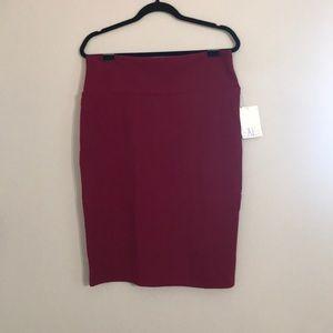 NWT Burgundy LuLaRoe Cassie Pencil Skirt - XL